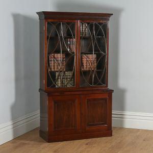 Antique English Georgian Style Mahogany Glazed Bookcase (Circa 1900) - yolagray.com