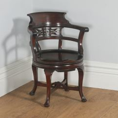 Revolving Chair In English Behind The Com Antique Victorian Mahogany Office Desk