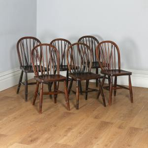 Antique Set of Six Victorian Ash & Elm Country Stick Back Kitchen Dining Chairs (Circa 1900)- yolagray.com
