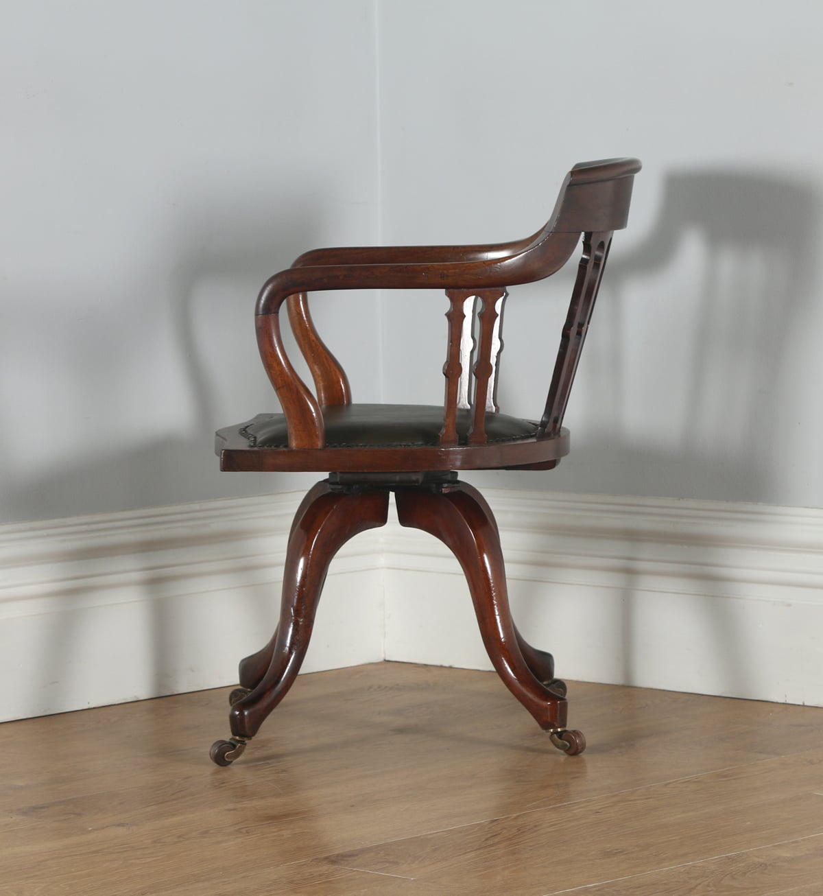 revolving office armchair painting fabric chair seats antique victorian mahogany and leather