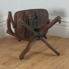 Revolving Chair In English Linen Slipcover Dining Antique Edwardian Mahogany Office Desk