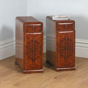 Antique English Pair of Art Deco Burr Walnut Bedside Chests (Circa 1930)- yolagray.com
