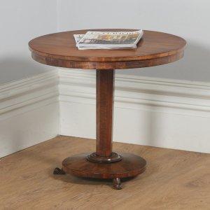 Antique English Victorian Figured Mahogany Circular Occasional Tripod Table (Circa 1840) - yolagray.com