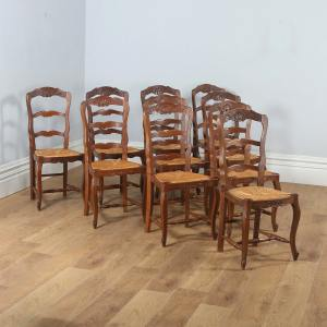 Antique Set of 10 French Louis XV Style Oak Ladder Back Rush Seat Kitchen Dining Chairs (Circa 1910) - yolagray.com