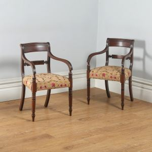 Antique English Pair of Georgian Sheraton Regency Mahogany Library Armchairs (Circa 1820) - yolagray.com