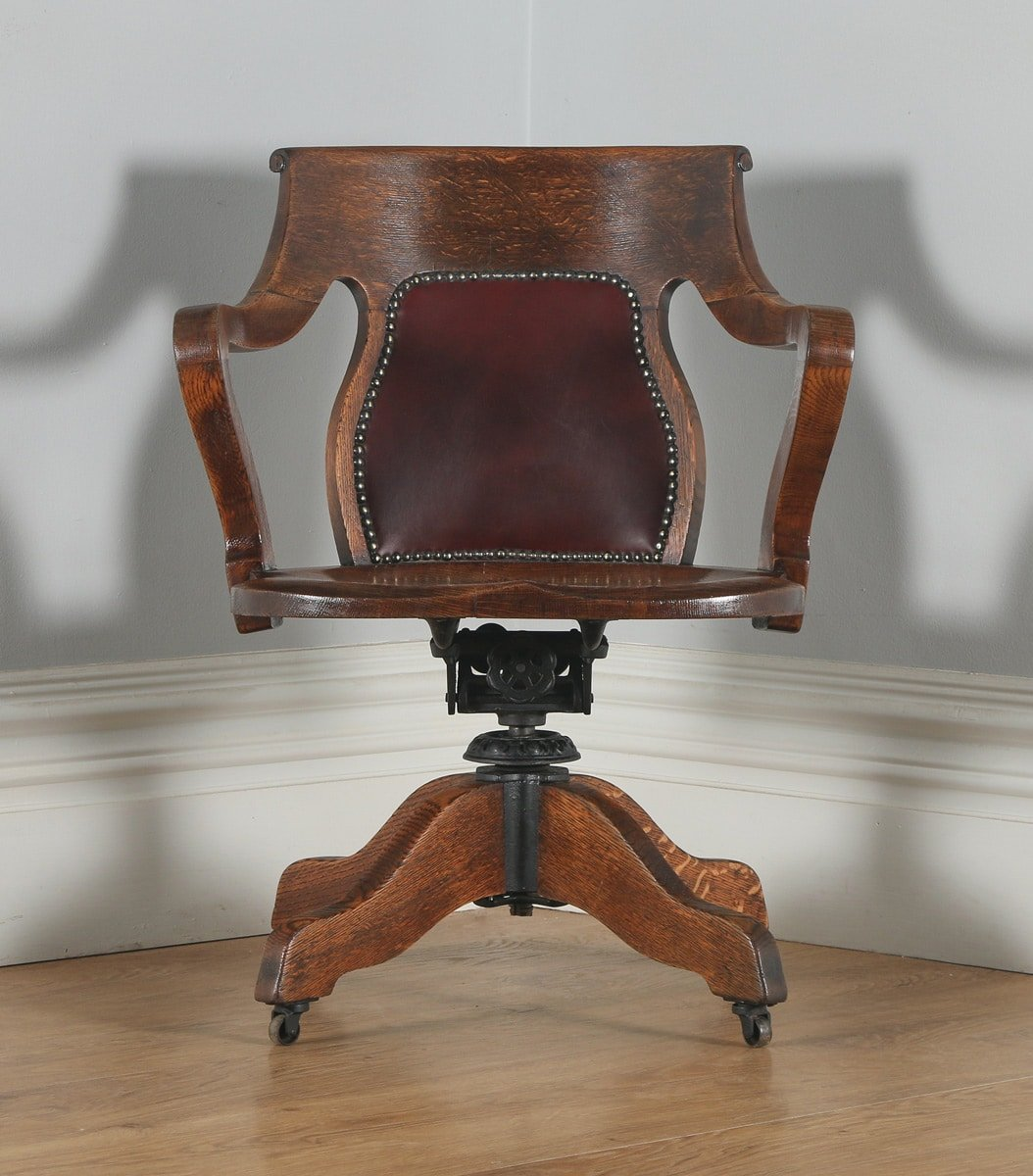 antique leather swivel desk chair next to bed edwardian oak and revolving office