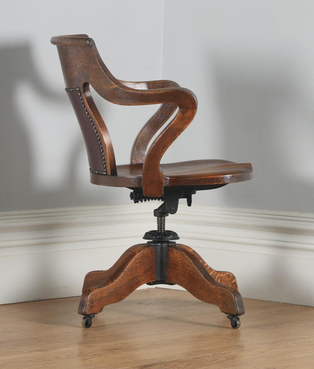 revolving office armchair navy blue chair covers wholesale antique edwardian oak & leather swivel desk arm (circa 1905) - yola gray ...