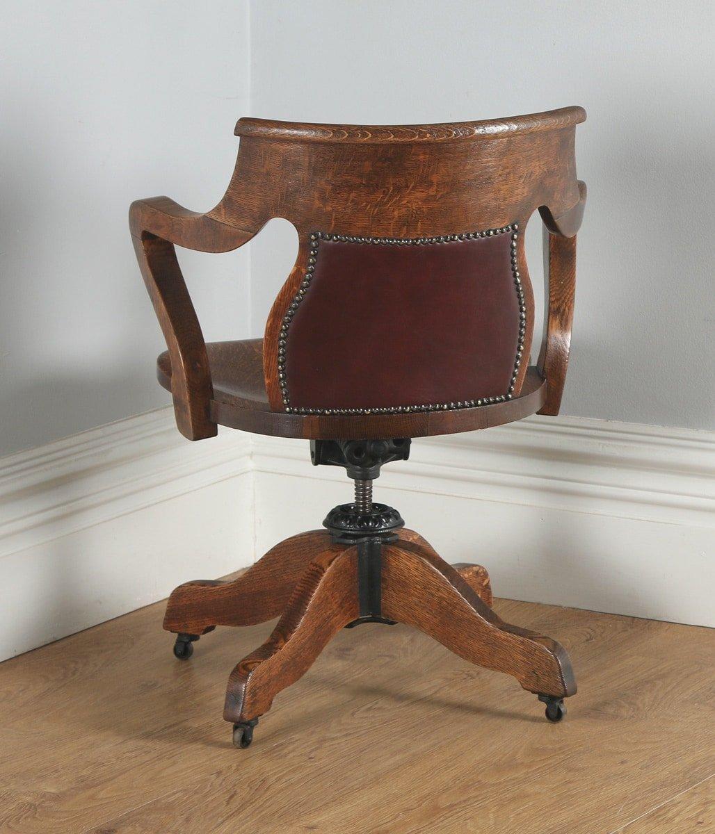 antique leather swivel desk chair barrel edwardian oak and revolving office