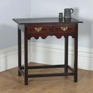 Antique English Georgian Inlaid Country Oak Side / Hall Table (Circa 1750) - yolagray.com