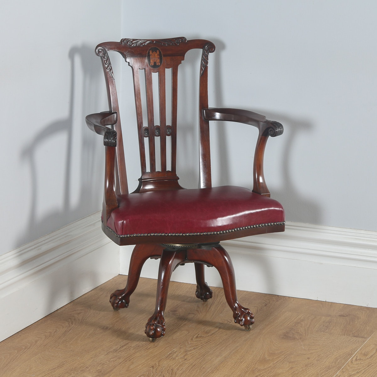 revolving desk chair convertible to bed furniture antique chippendale style mahogany office