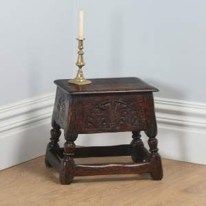 Antique English Charles II Style Oak Joint Close Sewing Box Seat Stool (Circa 1880)- yolagray.com