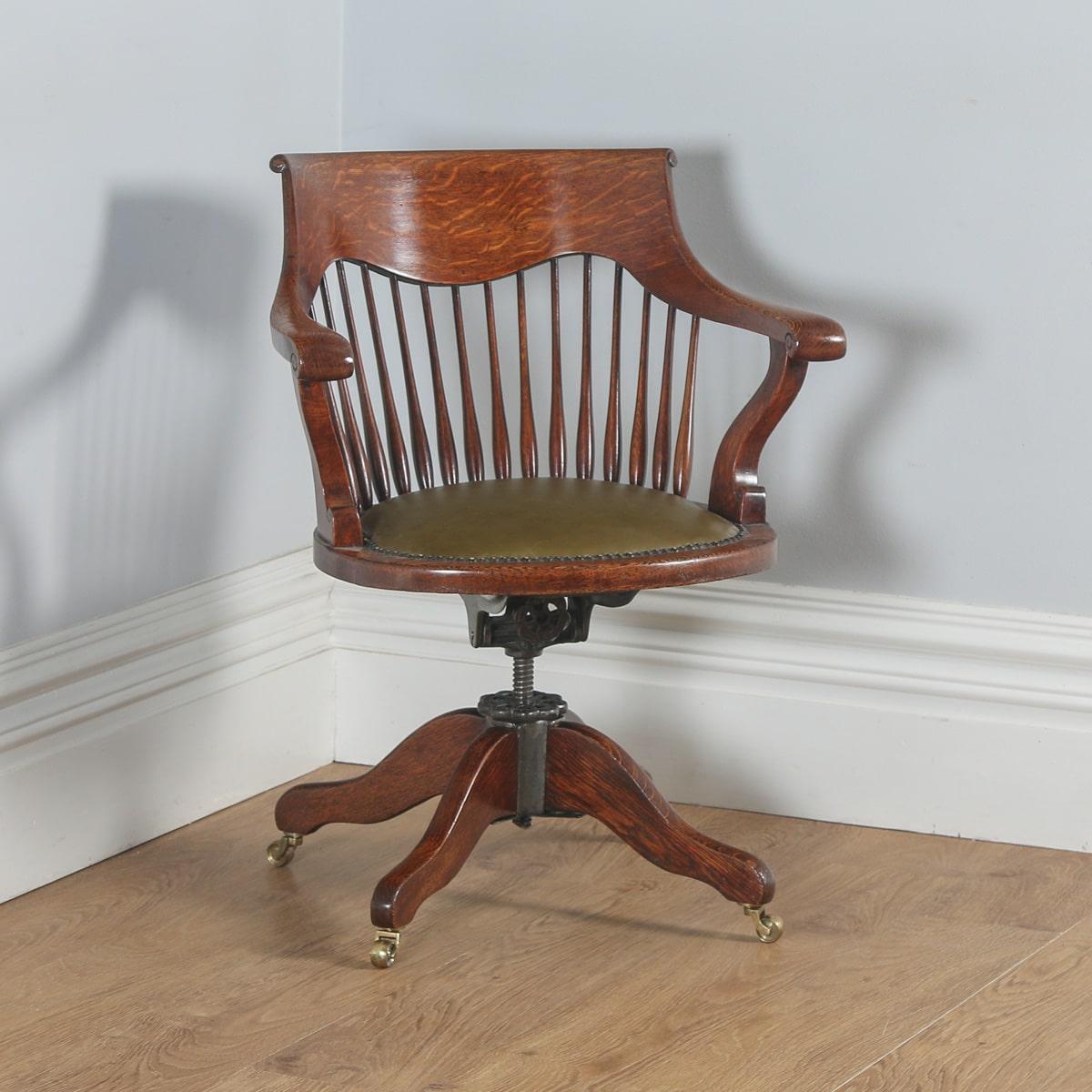 revolving chair in english wooden corner antique edwardian oak swivel office desk