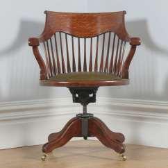 Revolving Chair In English Stoke High Antique Edwardian Oak Swivel Office Desk