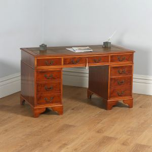 """Vintage English Georgian Style Yew Wood & Brown Leather 4ft 6"""" Pedestal Office Desk (Circa Late 20th Century) - yolagray.com"""