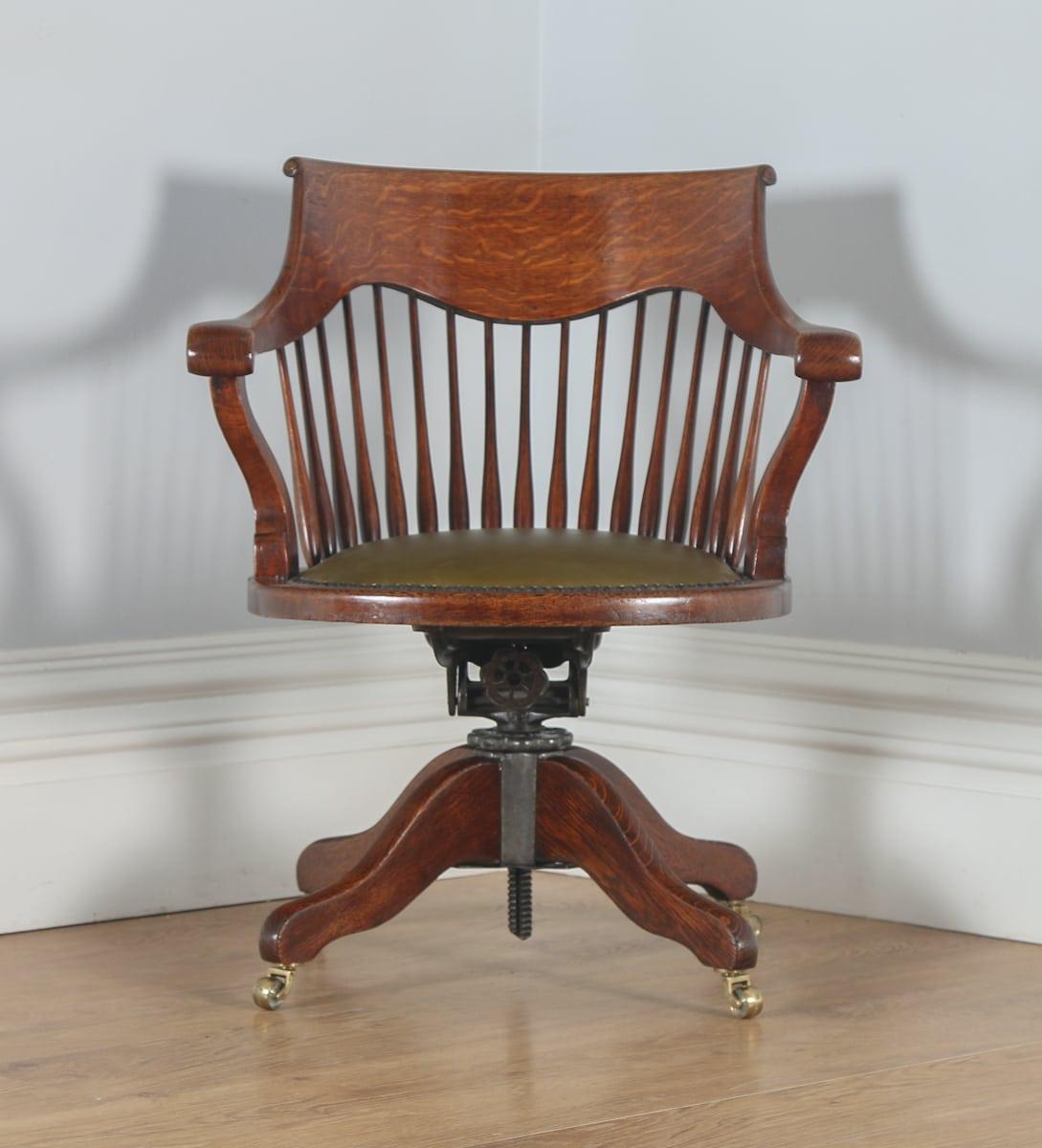 revolving chair in english baby antique edwardian oak swivel office desk