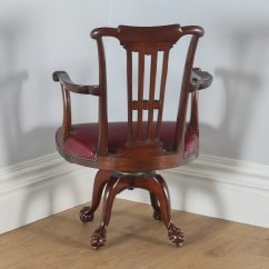 Revolving Desk Chair Slipcovers Oversized And Ottoman Antique Chippendale Style Mahogany Office