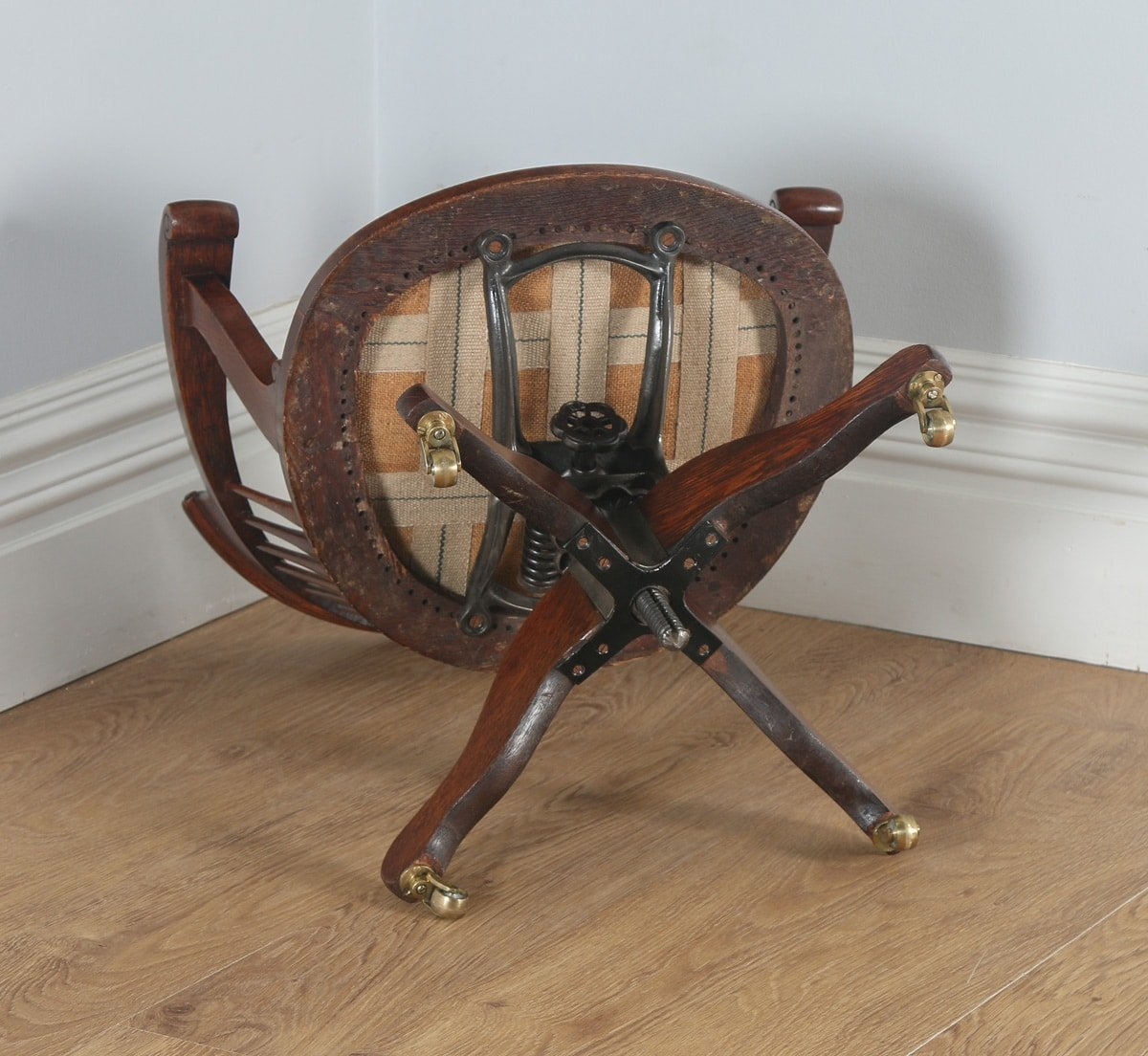 antique leather swivel desk chair ergonomic karachi english edwardian oak revolving office