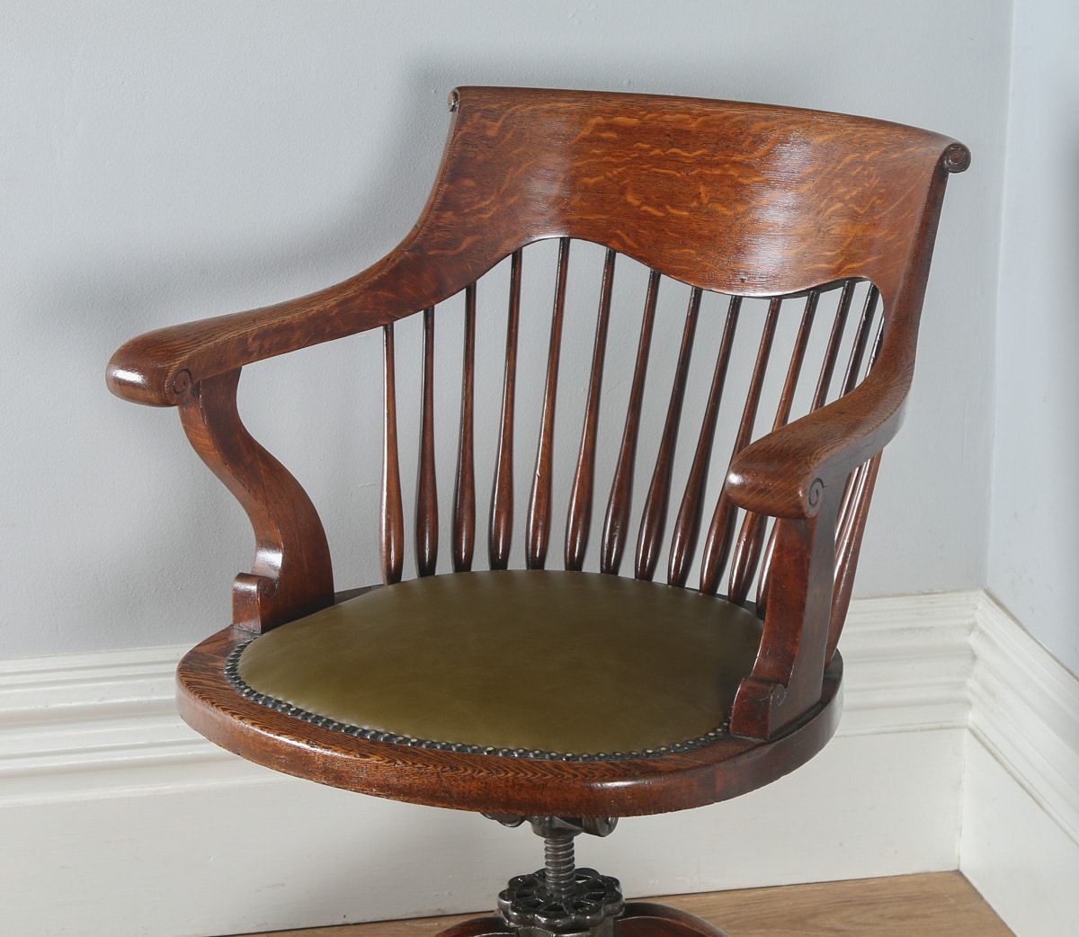 revolving chair in english best activity for baby antique edwardian oak swivel office desk