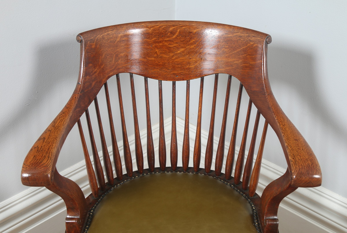 revolving chair for kitchen target outdoor chairs black antique english edwardian oak swivel office desk