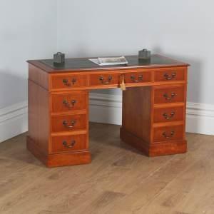 Vintage English Georgian Style Yew Wood & Green Leather 4ft Pedestal Office Desk (Circa Late 20th Century) - yolagray.com