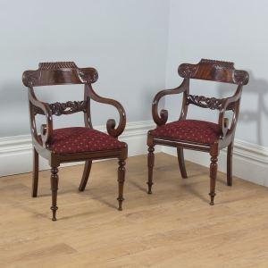 Antique English Pair of William IV Mahogany Library Office Arm Chairs (Circa 1830) - yolagray.com