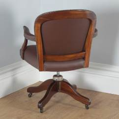 Revolving Chair In English Desk And With Storage Bin Antique Mahogany Leather Office By