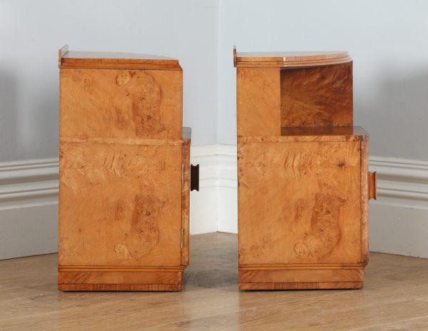 Antique Pair of English Art Deco Birds Eye Maple Bedside Cabinet Tables / Nightstands (Circa 1930) - yolagray.com
