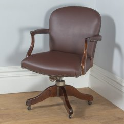 Revolving Desk Chair Slipper Slipcovers Antique Mahogany Leather Office By