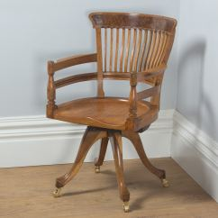 Revolving Chair For Kitchen Tufted Wingback Leather Antique English Victorian Oak And Burr Walnut