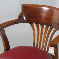 Revolving Chair In English Loveseat Bench Dining Antique Edwardian Beech And Red Leather Office