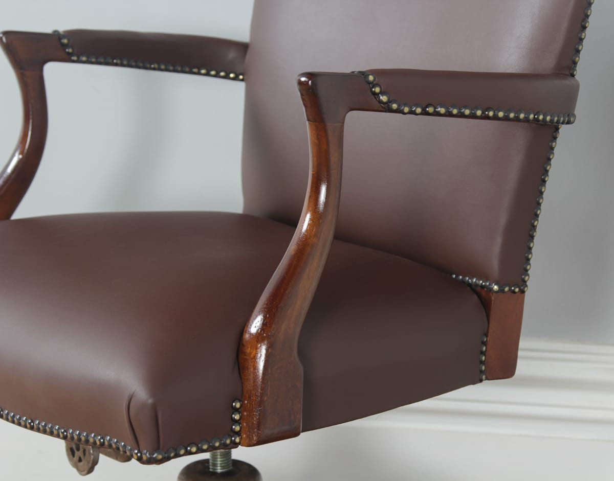 revolving chair in english where to reupholster dining room chairs antique mahogany leather office desk by