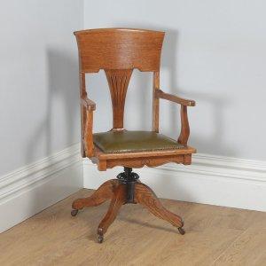 Antique American Edwardian Art Nouveau Oak & Leather Revolving Office Desk Arm Chair (Circa 1903) - yolagray.com