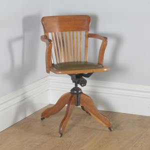 Antique English Edwardian Oak & Green Leather Revolving Office Desk Arm Chair (Circa 1910) - yolagray.com