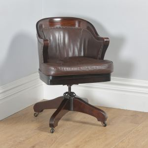 Antique English Edwardian Mahogany & Brown Leather Revolving Office Desk Arm Chair (Circa 1910) - yolagray.com