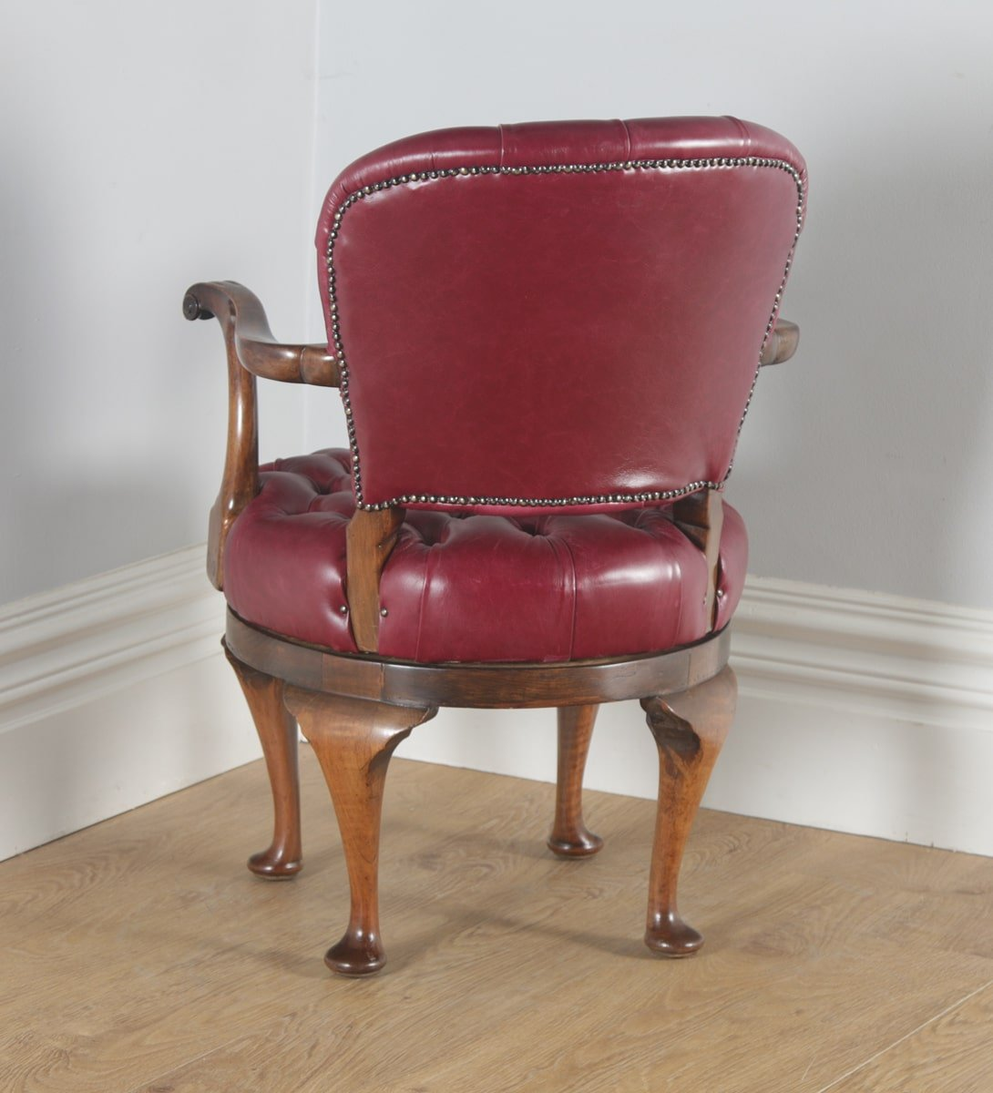 revolving chair in english lawn covers amazon antique queen anne style walnut and red leather