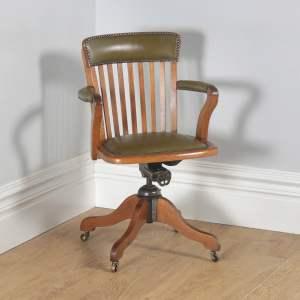 Antique English Edwardian Oak & Green Leather Revolving Office Desk Arm Chair by Matthews & Son of Liverpool (Circa 1910) - yolagray.com