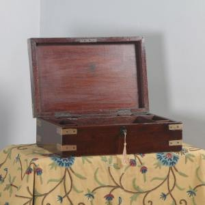 Antique Victorian Colonial Campaign Teak & Brass Inlaid Writing / Jewellery / Sewing Box (Circa 1860) - yolagray.com