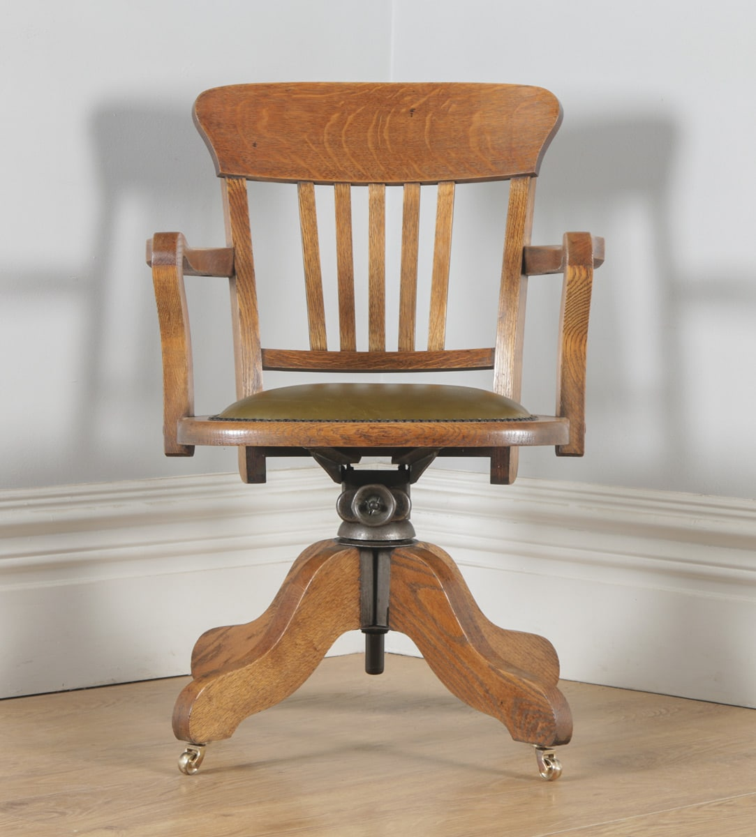 revolving chair in english folding victoria bc antique edwardian oak and leather office