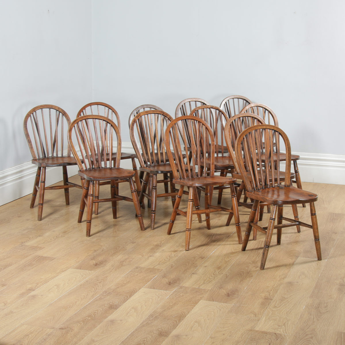 Kitchen Chairs Wood Antique Set Of 12 Victorian Ash Elm Windsor Stick Hoop Back Kitchen Chairs Circa 1900