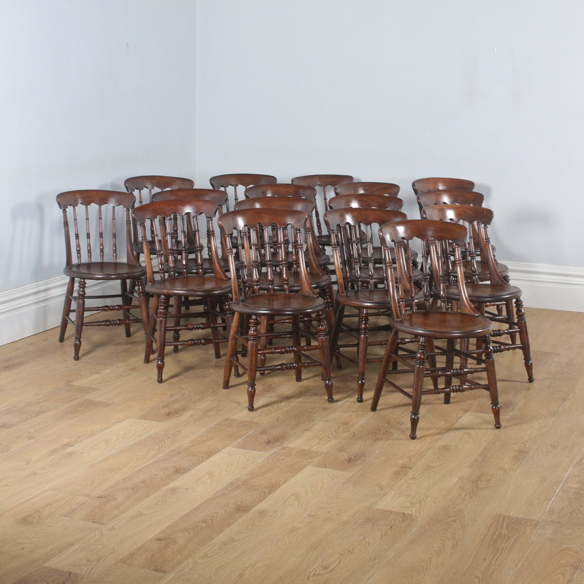 Kitchen Chairs Wood Antique Set Of 16 Victorian Ash Elm Windsor Spindle Bar Back Kitchen Chairs Circa 1880