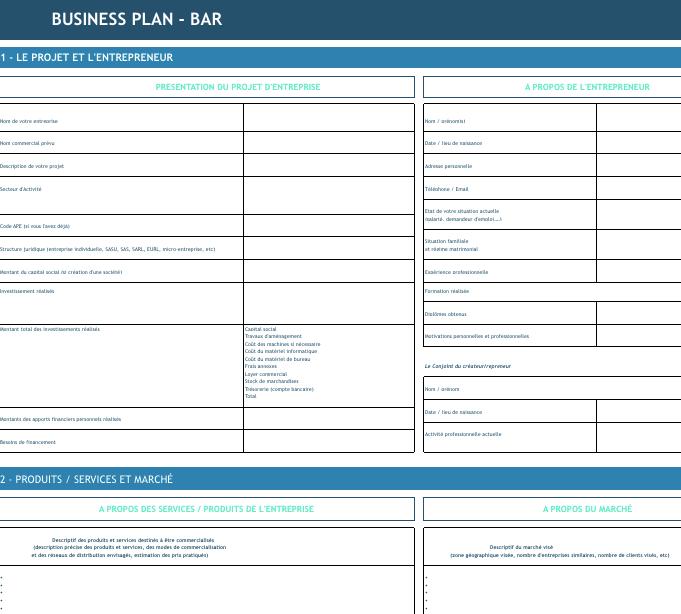 Modèle De Business Plan De Bar