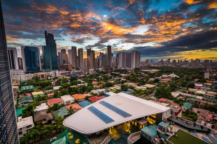 View of the skyline of Makati at sunset, in Metro Manila, The Philippines.