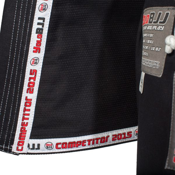 Comp450 BJJ gi Black lapel tape detail