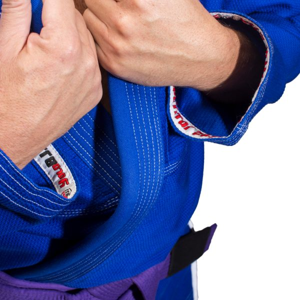 Comp450 BJJ gi Blue sleeve tape detail