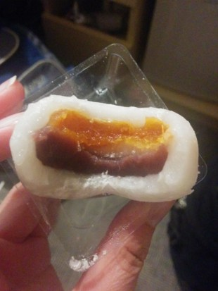 Mochi with mandarin and red bean paste filling