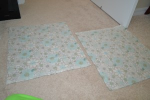 Two pieces of fabric cut to size 18x21
