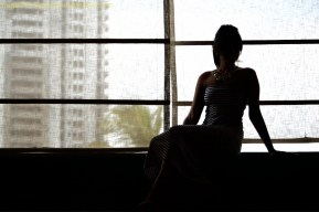 Just a silhouette with a background of netted window.
