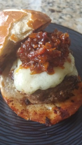 sliders with gruyere and bacon jam