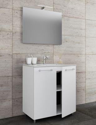3 tlg. Stand Waschplatz Set Waschtisch Waschbecken Keramik ...