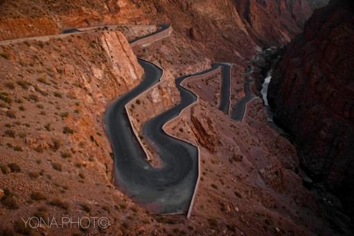 Descending Road in Boumalne du Dades Gorge, Morocco